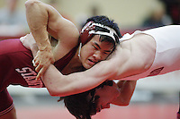 27 October 2007: Matt Kim defeats  Max Rosefigura during intra-squad wrestle-offs at Burnham Pavilion in Stanford, CA.