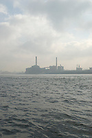 Industrial Scene - Power Plant on the East River on a Cloudy Day, Brooklyn, New York City, New York State, USA
