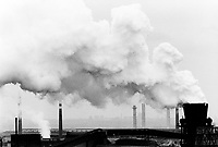 """Poland. Silesia. Bobrek. """" Hutta Bobrek """" is the factory's name. Coke burning. Major polluted area due to old iron and steel works and heavy metals supended in the air. Bobrek is a small town, distant 20 km from Katowice. © 1991 Didier Ruef"""