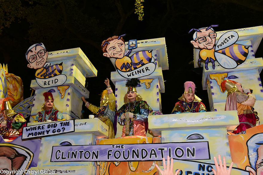 The Krewe D'Etat parade and its satirical float Former Queen Bees rolls in New Orleans on Friday, Feb. 24, 2017. (AFP/CHERYL GERBER)