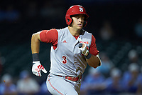 Joe Dunand (3) of the North Carolina State Wolfpack hustles down the first base line against the North Carolina Tar Heels in Game Twelve of the 2017 ACC Baseball Championship at Louisville Slugger Field on May 26, 2017 in Louisville, Kentucky. The Tar Heels defeated the Wolfpack 12-4. (Brian Westerholt/Four Seam Images)
