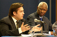 March 18, Montreal, Quebec, Canada<br /> <br /> Denis Coderre, Minister in charge of Francophonie (L) and Abou Diouf, General Secretary, Francophonie International Organisation (O.I.F.) (R) adress the medias<br /> March 18 2004 in Montreal, Canada.<br /> <br /> Abou Diaf was attending the signature of a partnership between that Francophonie Universities Agency (AUF) and the African Virtual University (UVA).<br /> <br /> <br /> Mandatory Credit: Photo (©) Copyright 2004 by Pierre Roussel