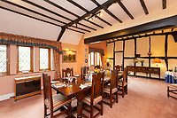 BNPS.co.uk (01202 558833)<br /> Pic: Savills/BNPS<br /> <br /> Pictured: The dining room with visible wooden beams in the ceiling and walls.<br /> <br /> A historic thatched home where Cromwell's army stayed during the English Civil War is on the market for £1.6m.<br /> <br /> The Barracks, so-named for its links with Cromwell more than 370 years ago, has spectacular country views and is in one of Cheshire's most popular areas.<br /> <br /> The five-bedroom property just outside the picturesque village of Bunbury is a far cry from how it would have looked in Cromwell's time, having been extended over the years.<br /> <br /> It was used in the 17th century by Cromwell's armies during the siege of Beeston Castle - two miles away. The castle's location made it valuable to both the royalists and parliamentarians.