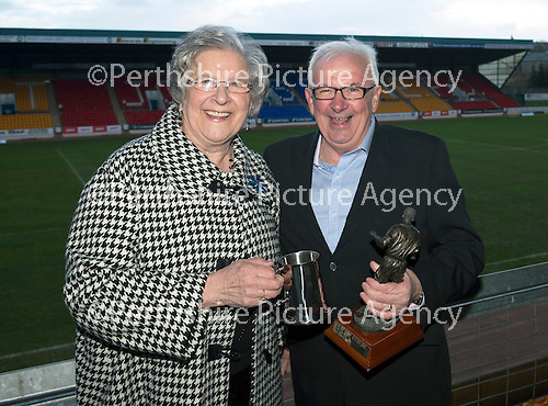 St Johnstone Player of the Year Awards...04.05.13.StJFC Supporters Bus George Gordon Clubman of the Year went to Tommy Campbell presented by Gertie Gordon;.Picture by Graeme Hart..Copyright Perthshire Picture Agency.Tel: 01738 623350  Mobile: 07990 594431