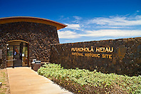 visitor center entrance at Puukohola Heiau National Historic Site, Kawaihae, Kohala, Big Island, Hawaii, USA