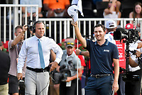 5th September 2021: Atlanta, Georgia, USA;  Patrick Cantlay acknowledges the fans on the 18th hole after completing the final round of the PGA Tour Championship on Sunday, September 5, 2021 at East Lake Golf Club in Atlanta, GA. (Photo by Austin McAfee/Icon Sportswire)