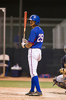 AZL Rangers center fielder Bubba Thompson (29) bats against the AZL Padres 2 on August 2, 2017 at the Texas Rangers Spring Training Complex in Surprise, Arizona. Padres 2 defeated the Rangers 6-3. (Zachary Lucy/Four Seam Images)