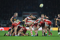 Greig Laidlaw of Gloucester Rugby sends up a box kick during the Aviva Premiership Rugby match between Harlequins and Gloucester Rugby at Twickenham Stadium on Tuesday 27th December 2016 (Photo by Rob Munro/Stewart Communications)