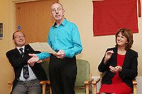 """NO REPRO FEE. 21/11/2011. New Alzheimer Day Centre at full capacity as demand for Alzheimer services grow. Minister for Social Protection Joan Burton T.D. officially opened """"Failte Day Centre"""", which will provide dementia-specific, person-centred care to people with dementia and their carers in Hartstown, Clonsilla. The Minister is pictured with L-R Alzheimer society CEO Maurice O'Connell and Failte Day Centre client Christy Cummins from McKee Park who sang You never walk alone. The Alzheimer Society of Ireland, in partnership with the HSE, is currently operating 3 days a week caring for clients living with dementia who live in Castleknock. Picture James Horan/Collins Photos"""