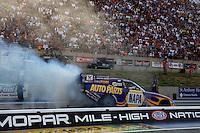 Jul. 19, 2013; Morrison, CO, USA: NHRA funny car driver Ron Capps during qualifying for the Mile High Nationals at Bandimere Speedway. Mandatory Credit: Mark J. Rebilas-