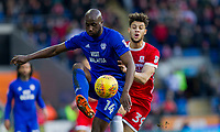 Sol Bamba of Cardiff City and Rudy Gestede of Middlesbrough during the Sky Bet Championship match between Cardiff City and Middlesbrough at the Cardiff City Stadium, Cardiff, Wales on 17 February 2018. Photo by Mark Hawkins / PRiME Media Images.