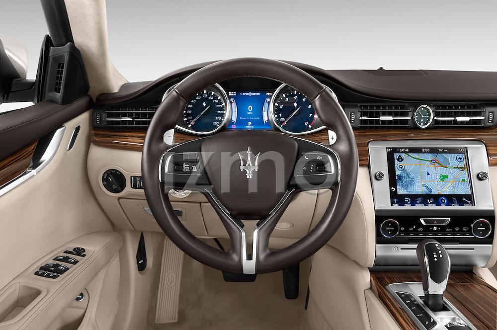 Car pictures of steering wheel view of a 2014 Maserati Quattroporte SQ4 4 Door Sedan Steering Wheel