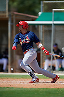 GCL Cardinals first baseman Zack Gahagan (38) follows through on a swing during a game against the GCL Marlins on August 4, 2018 at Roger Dean Chevrolet Stadium in Jupiter, Florida.  GCL Marlins defeated GCL Cardinals 6-3.  (Mike Janes/Four Seam Images)