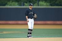 Wake Forest Demon Deacons shortstop Patrick Frick (5) on defense against the Virginia Cavaliers at David F. Couch Ballpark on May 18, 2018 in  Winston-Salem, North Carolina.  The Cavaliers defeated the Demon Deacons 15-3.  (Brian Westerholt/Four Seam Images)