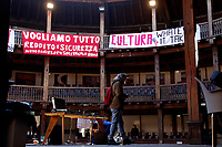 A group of workers in the entertainment field (actors, singers, ecc.) occupied this morning the Globe Theatre Silvano Toti, a beautiful theatre set inside Villa Borghese, after more than a year stop for the live entertainment, to ask for more security and certainty on their work. <br /> Rome (Italy), April 14th 2021<br /> Photo Samantha Zucchi Insidefoto