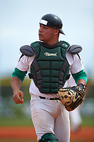 Community College of Rhode Island Knights catcher Edison Mercado (17) during a game against the Genesee Community College Cougars on March 20, 2016 at Lake Myrtle Park in Auburndale, Florida.  CCRI defeated Genesee 23-4.  (Mike Janes/Four Seam Images)