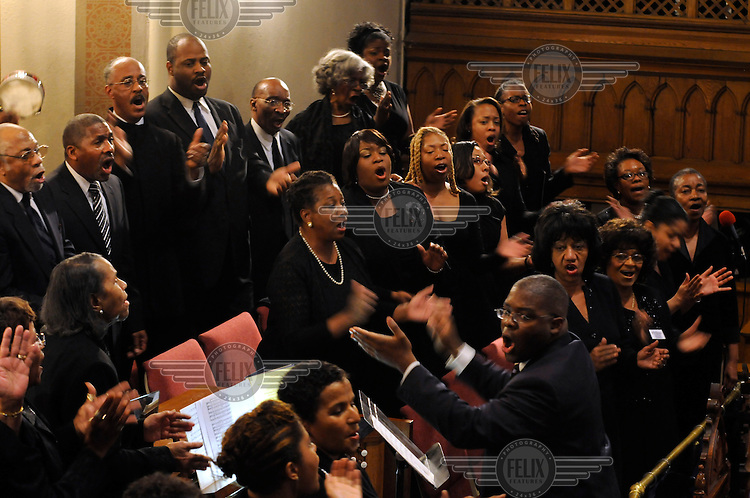 A choir performs at the Metropolitan African Methodist Episcopal Church on Martin Luther King Day, on the eve of the inauguration of Barack Obama as the 44th President of the United States..The church is at the forefront of civic and cultural life of African Americans and is the closest black church to the White House.