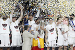 Real Madrid's Felipe Reyes, Marcus Slaughter, Andres Nocioni, Gustavo Ayon, Jaycee Carroll, Jonas Maciulis and Ioannis Bourousis celebrate the victory in the Euroleague Final Match in presence of King Felipe VI of Spain. May 15,2015. (ALTERPHOTOS/Acero)