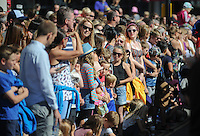 Pictured: Saturday 17 September 2016<br /> Re: Roald Dahl's City of the Unexpected has transformed Cardiff City Centre into a landmark celebration of Wales' foremost storyteller, Roald Dahl, in the year which celebrates his centenary.<br /> Crowds line the streets in Cardiff city centre.