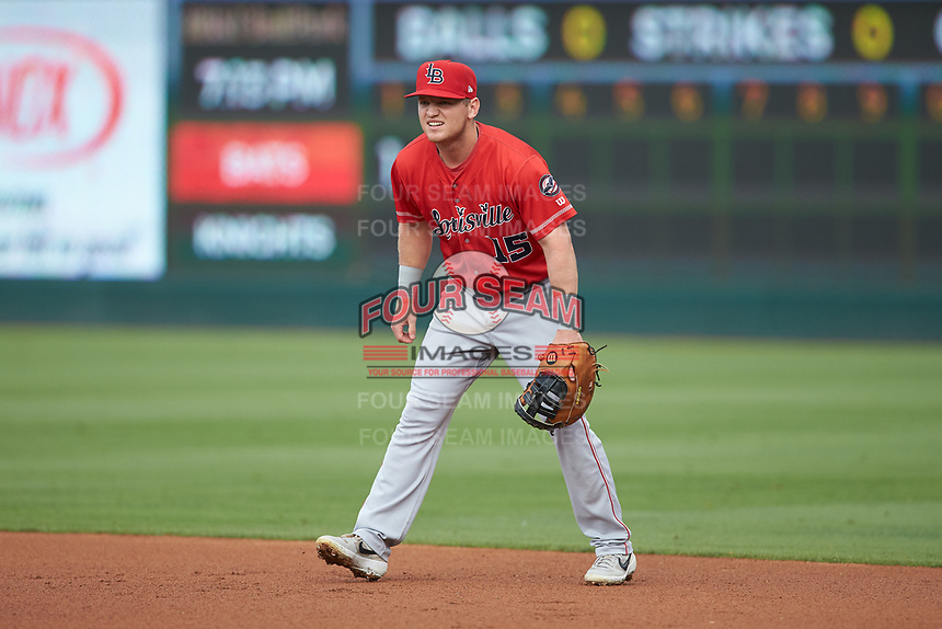 Louisville Bats first baseman Josh VanMeter on defense against the Charlotte Hornets at BB&T BallPark on June 22, 2019 in Charlotte, North Carolina. The Hornets defeated the Bats 7-6. (Brian Westerholt/Four Seam Images)