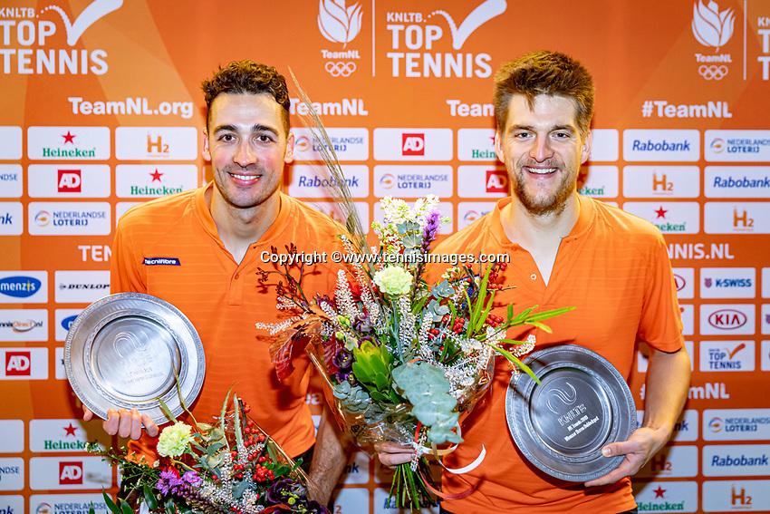 Alphen aan den Rijn, Netherlands, December 21, 2019, TV Nieuwe Sloot,  NK Tennis, Men's doubles final:  Sander Arends (NED) and David Pel (NED) (L) With the winners trophy.<br /> Photo: www.tennisimages.com/Henk Koster