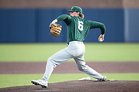 Michigan State Spartans pitcher Rush Wyatt (6) delivers a pitch to the plate against the Michigan Wolverines on March 22, 2021 in NCAA baseball action at Ray Fisher Stadium in Ann Arbor, Michigan. Michigan State beat the Wolverines 3-0. (Andrew Woolley/Four Seam Images)