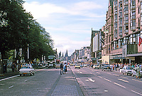 Edinburgh: Looking West on Princes St. from Scott Monument. Photo '87.