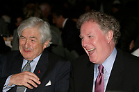 June 7 2004, Montreal (Quebec) CANADA<br /> James D. Wolfensohn, World Bank Group President (L) talk with Jean Charest, Premier, Province of Quebec, at the 10th Conference of Montreal, June 7 2004<br /> Photo (c) 2004, Pierre Roussel / Images Distribution