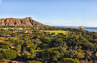 An aerial view of the Honolulu Zoo, Kapi'olani Regional Park and Diamond Head, Honolulu, O'ahu.