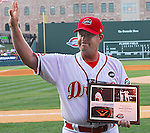 July 9, 2009: Manager Kevin Boles of the Greenville Drive recognizes the applause of the crowd Thursday night as he receives a plaque for achieving his 500th win as a manager at Fluor Field at the West End in Greenville, S.C. The Drive got their boss the record with a 6-5 victory Wednesdy night over the Rome Braves. Photo by: Tom Priddy/Four Seam Images
