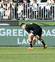 5th September 2021; Optus Stadium, Perth, Australia: Bledisloe Cup international rugby, Australia versus New Zealand; Will Jordan of the All Blacks touches down and scores a try during the second half
