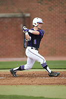 Hunter Lee (2) of the High Point Panthers follows through on his swing against the North Carolina Central Eagles at Williard Stadium on February 28, 2017 in High Point, North Carolina. The Eagles defeated the Panthers 11-5. (Brian Westerholt/Four Seam Images)