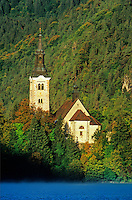 Church of the Assumption, a 17th century baroque church, located in island in Lake Bled, Slovenia, AGPix_0544.