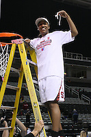 10 March 2008: Stanford Cardinal Candice Wiggins during Stanford's 56-35 win against the California Golden Bears in the 2008 State Farm Pac-10 Women's Basketball championship game at HP Pavilion in San Jose, CA.