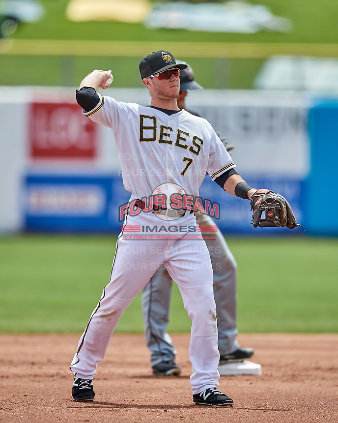 Matt Williams (7) of the Salt Lake Bees on defense against the El Paso Chihuahuas in Pacific Coast League action at Smith's Ballpark on April 30, 2017 in Salt Lake City, Utah. El Paso defeated Salt Lake 3-0. This was Game 1 of a double-header. (Stephen Smith/Four Seam Images)