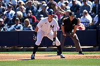 New York Yankees DJ LeMahieu (26) leads off during a Spring Training game against the Toronto Blue Jays on February 22, 2020 at the George M. Steinbrenner Field in Tampa, Florida.  (Mike Janes/Four Seam Images)
