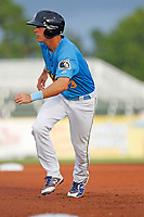 Myrtle Beach Pelicans designated hitter Jared Young (3) on the basepaths during a game against the Winston-Salem Dash at Ticketreturn.com Field at Pelicans Ballpark on July 23, 2018 in Myrtle Beach, South Carolina. Winston-Salem defeated Myrtle Beach 6-1. (Robert Gurganus/Four Seam Images)