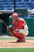 Clearwater Threshers catcher Gabriel Lino (7) during a game against the Daytona Tortugas on April 20, 2016 at Bright House Field in Clearwater, Florida.  Clearwater defeated Daytona 4-2.  (Mike Janes/Four Seam Images)