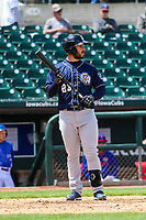 San Antonio Missions first baseman David Freitas (23) steps to the plate during a Pacific Coast League game against the Iowa Cubs on May 2, 2019 at Principal Park in Des Moines, Iowa. Iowa defeated San Antonio 8-6. (Brad Krause/Four Seam Images)
