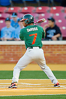 Zeke DeVoss #7 of the Miami Hurricanes at bat against the Wake Forest Demon Deacons at Gene Hooks Field on March 18, 2011 in Winston-Salem, North Carolina.  Photo by Brian Westerholt / Four Seam Images