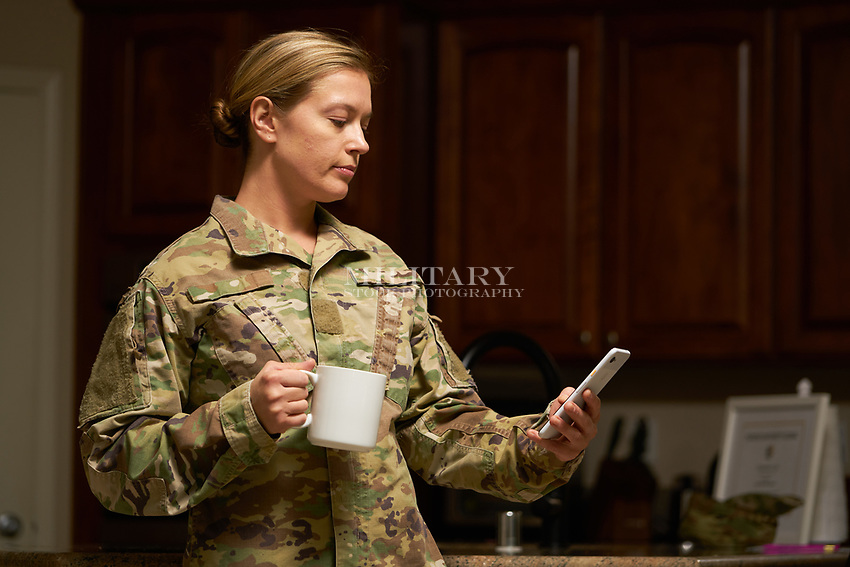 Off duty US military soldier at home before or after duty. For sale as stock photography, DOD compliant.