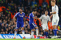Diego Costa of Chelsea (left) shows his displeasure to the referee during the UEFA Champions League Group match between Chelsea and Dynamo Kyiv at Stamford Bridge, London, England on 4 November 2015. Photo by David Horn.