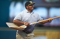 "Bradenton Marauders groundskeeper Victor Madrigal, ""The Dancing Dominican"" performs after dragging the field in the seventh inning during a game against the Palm Beach Cardinals on August 8, 2016 at McKechnie Field in Bradenton, Florida.  Madrigal is a former minor league baseball player.  Bradenton defeated Palm Beach 5-4.  (Mike Janes/Four Seam Images)"