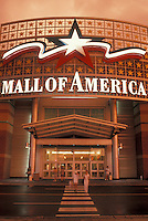 Mall of America, Bloomington, Minneapolis, MN, Minnesota, Entrance to the Mall of America the nation's largest combined retail and entertainment center with more than 520 stores at sunset in Bloomington.