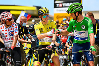 10th July 2021; Carcassonne, France;  QUINTANA Nairo (COL) of TEAM ARKEA - SAMSIC, POGACAR Tadej (SLO) of UAE TEAM EMIRATES and CAVENDISH Mark (GBR) of DECEUNINCK - QUICK-STEP during stage 14 of the 108th edition of the 2021 Tour de France cycling race, a stage of 183,7 kms between Carcassonne and Quillan.