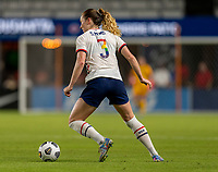 HOUSTON, TX - JUNE 10: Samantha Mewis #3 of the USWNT dribbles the ball during a game between Portugal and USWNT at BBVA Stadium on June 10, 2021 in Houston, Texas.