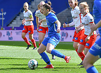 midfielder Emily Steijvers (33) of KRC Genk pictured during a female soccer game between  Racing Genk Ladies and SV Zulte-Waregem on the 18 th and last matchday before the play offs of the 2020 - 2021 season of Belgian Scooore Womens Super League , saturday 27 th of March 2021  in Genk , Belgium . PHOTO SPORTPIX.BE | SPP | JILL DELSAUX