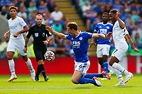 11th September 2021; King Power Stadium, Leicester, Leicestershire, England;  Premier League Football, Leicester City versus Manchester City; Jonny Evans of Leicester City is brought down by Raheem Sterling of Manchester City