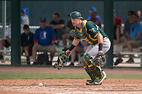 Oakland Athletics catcher Collin Theroux (55) during a minor league Spring Training game against the Chicago Cubs at Sloan Park on March 13, 2018 in Mesa, Arizona. (Zachary Lucy/Four Seam Images)