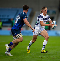 29th August 2020; AJ Bell Stadium, Salford, Lancashire, England; English Premiership Rugby, Sale Sharks versus Bristol Bears; Jank Bates of Bristol Bears about to be tackled by Luke James of Sale Sharks